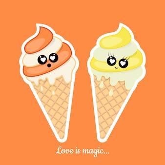 Pegatinas con helado con cita