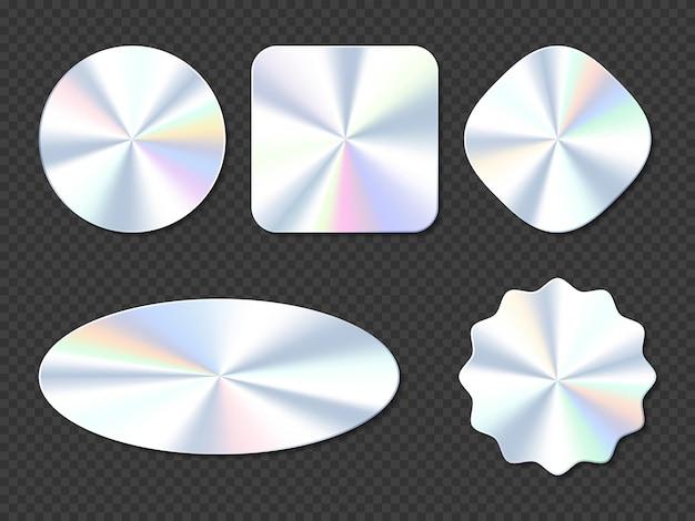 Pegatinas holográficas con diferentes formas.