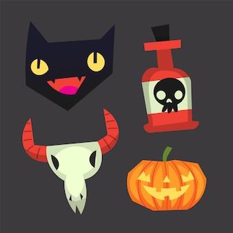 Pegatinas de imágenes ocultas de halloween vector aislado
