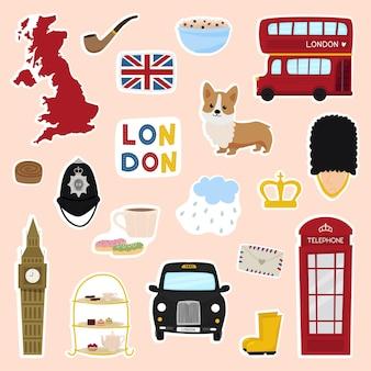 Pegatinas en inglés con el teléfono del autobús londinense crown corgi bridge viaje de seguridad a londres