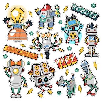 Pegatinas, insignias y parches de robots y máquinas en estilo cómic retro para impresiones y textiles. garabatear