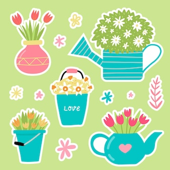 Pegatinas de jardín de primavera en estilo lindo dibujado a mano. diseño de jardinería feliz. perfecto para álbumes de recortes, tarjetas de felicitación, invitaciones a fiestas, carteles, etiquetas. ilustración vectorial.