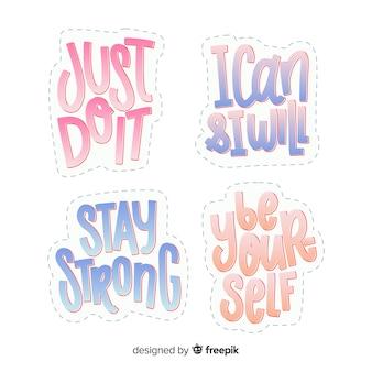 Pegatinas de letras con cita motivacional
