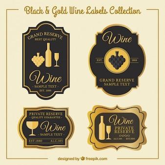 Pegatinas lujosas de vino en estilo vintage