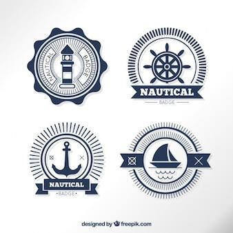Pegatinas marinas en diseño plano