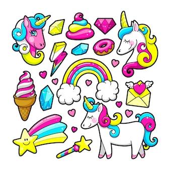 Pegatinas de moda ambientadas en estilo pop de los 80-90. unicornio, cristal, diamante, helado, arco iris, postre