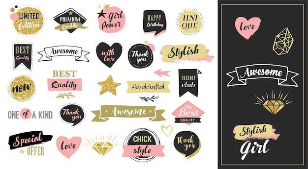 Pegatinas de moda, etiquetas y etiquetas de venta. corazones de oro, bocadillos, estrellas y otros elementos.