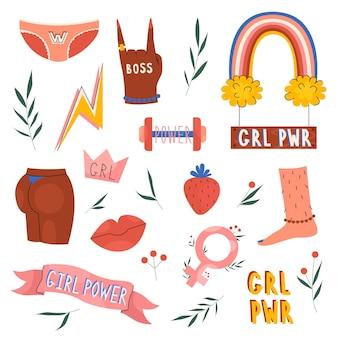 Pegatinas para mujer con inscripciones girls power, impresión corporal positiva en un moderno estilo dibujado a mano