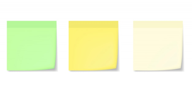 Pegatinas de notas realistas con maquetas de sombras