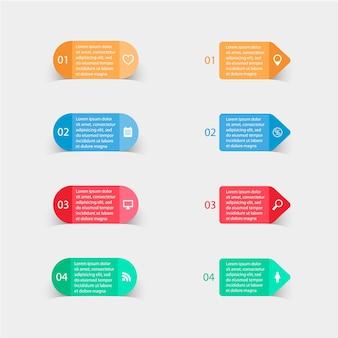 Pegatinas de papel y etiquetas con sombras realistas para infografía
