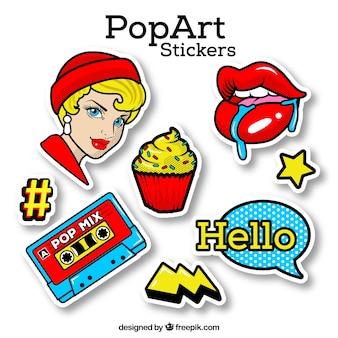 Pegatinas de pop art con estilo clásico