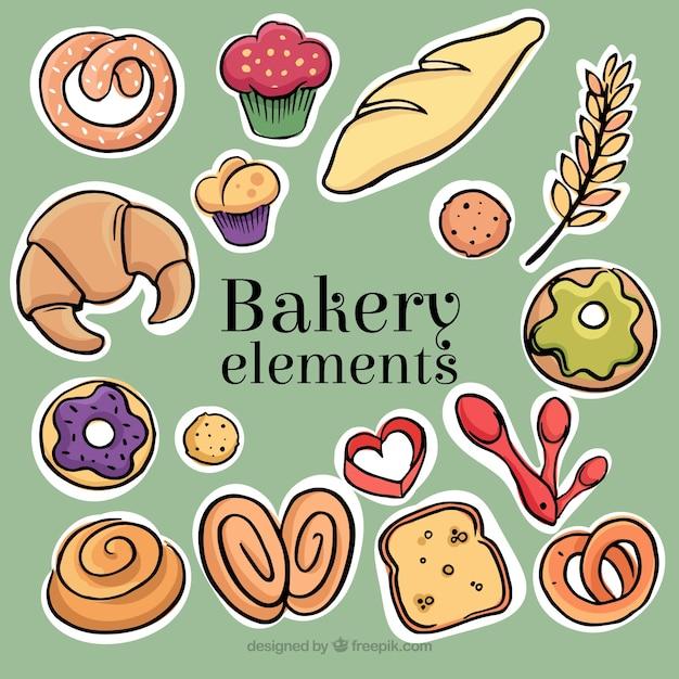 Pegatinas de productos de panadería dibujados a mano