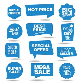 Pegatinas de promoción de descuento de concepto de venta azul