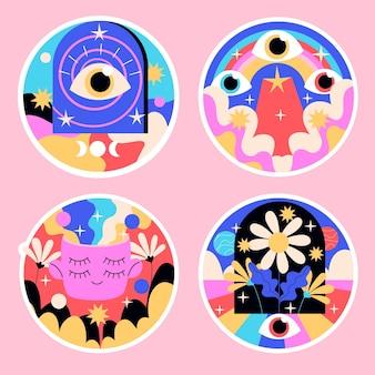 Pegatinas psicodélicas ingenuas colorida ilustración