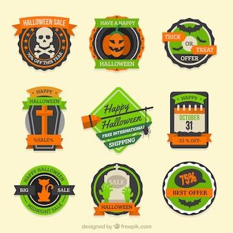 Pegatinas de rebajas para halloween con detalles naranjas y verdes