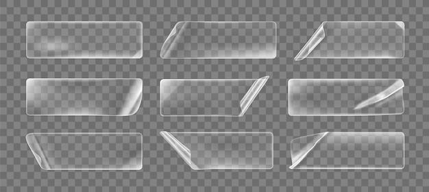 Pegatinas rectangulares arrugadas pegadas transparentes con esquinas rizadas simuladas. etiqueta adhesiva en blanco de papel transparente o plástico adhesivo con efecto rizado y arrugado. icono de vector realista 3d.