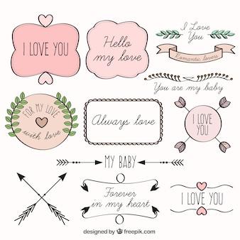 Pegatinas románticas de color rosa