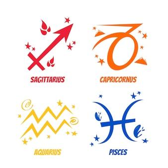 Pegatinas de signo astrológico de dibujos animados retro