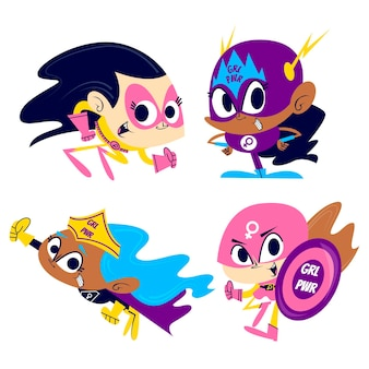 Pegatinas de superhéroes de niña de dibujos animados retro