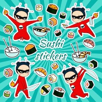Pegatinas de sushi de vector con personaje de dibujos animados ninja
