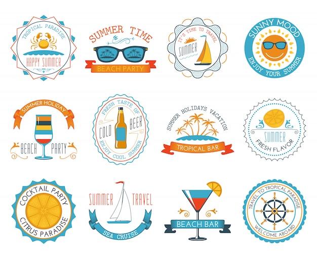 Pegatinas de verano vacaciones emblemas conjunto plana
