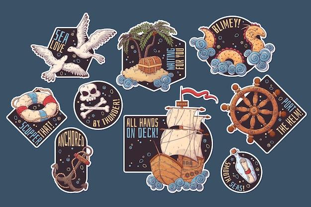 Pegatinas de viaje por mar dibujadas a mano