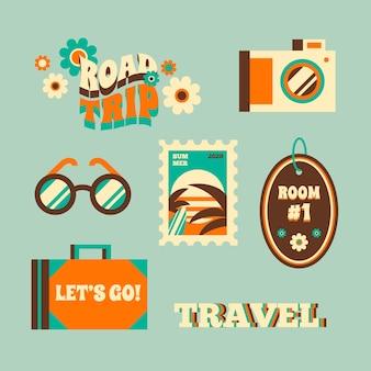 Pegatinas viajeras estilo años 70 del verano