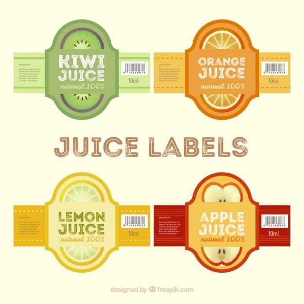 Pegatinas de zumos en diseño plano