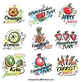 Pegatinas de zumos de frutas y verduras dibujadas a mano de acuarela
