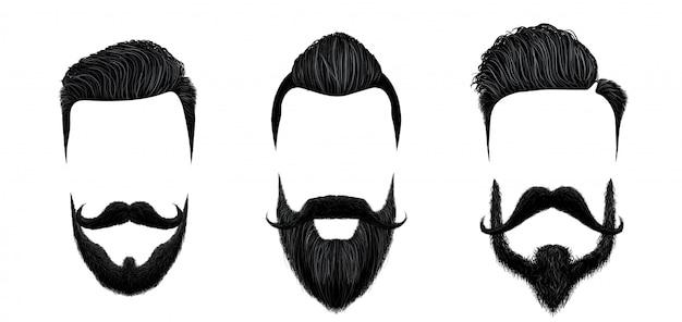 Peinado de hombres y bigote. conjunto de ilustración de estilos de corte de pelo de caballero vintage, barba de belleza y bigotes de moda