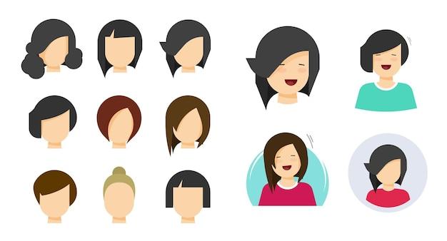 Peinado, mujer, cara, icono, plano, caricatura, para, moda, corte de pelo, aislado, yang, carácter, persona, retrato