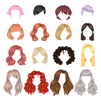 Peinado de mujer de vector.