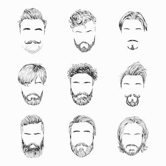 Peinados para hombres, barbas y bigotes. gentlmen cortes de pelo y afeitados dibujado a mano ilustración.
