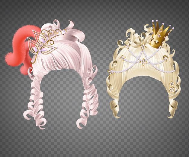 Peinados de princesa con corona y plumas.