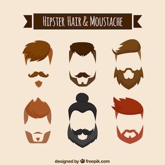 Peinados y bigotes en barbas en estilo hipster