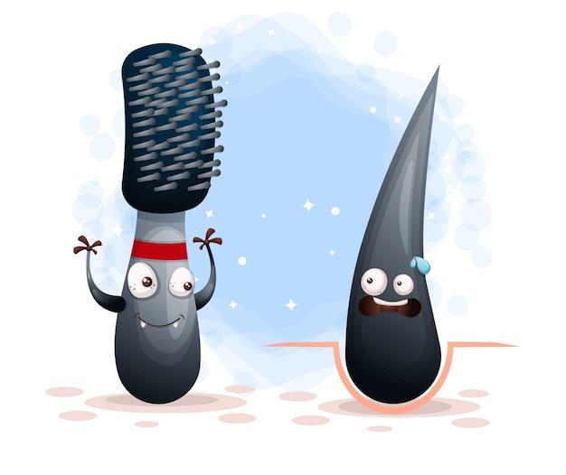 El peine aterrador enojado mata al personaje de dibujos animados de cabello insalubre