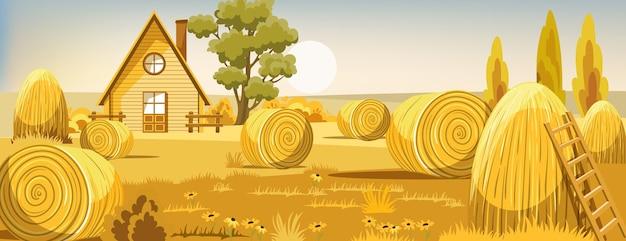 Peisage de un campo con pajares