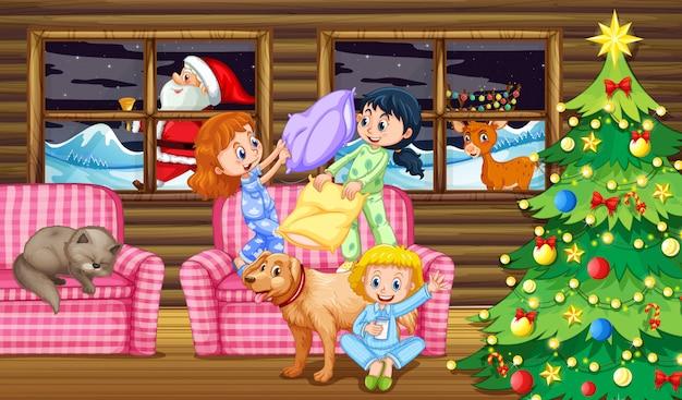 Pelea de almohadas para niños por la noche.