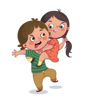Una pelea entre dos niños, un niño y una niña, ilustración vectorial.