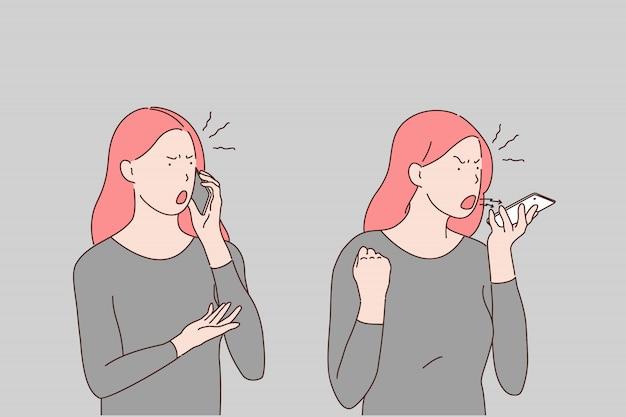 Pelea telefónica, fila, desacuerdo, problema, irritabilidad, concepto de ira