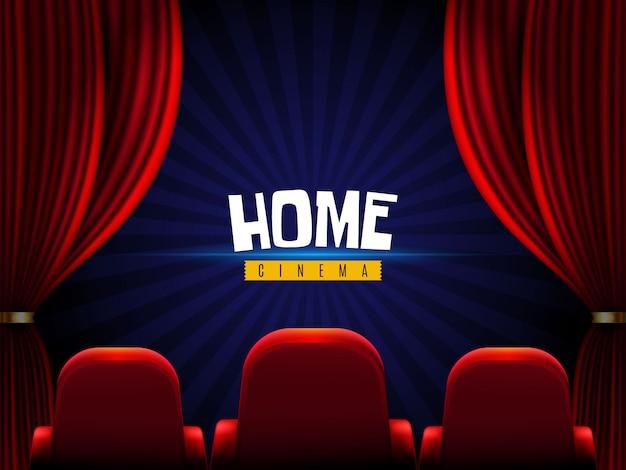 Película en casa cortinas y butacas de cine.
