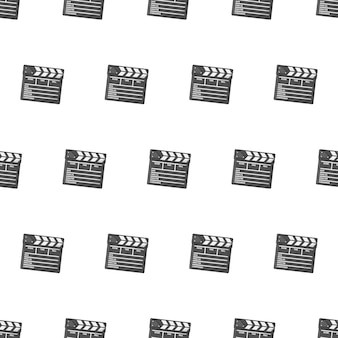 Película clapper board de patrones sin fisuras sobre un fondo blanco. ilustración de vector de tema de película