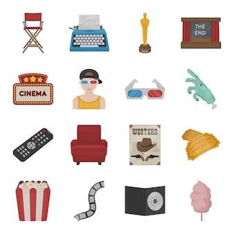 Película de dibujos animados cine set icono