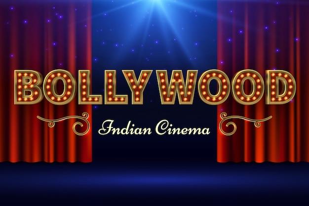 Película india de bollywood. cartel de película vintage con escenario antiguo y cortina roja. ilustración vectorial