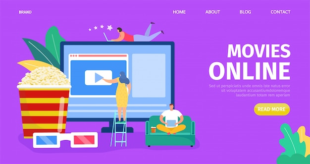 Película en línea, ilustración de medios de video. pantalla de computadora con cine digital web en línea, tecnología multimedia.