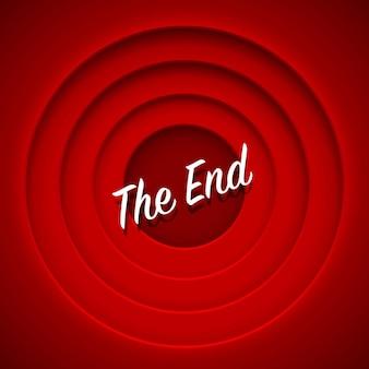 Película de pantalla al final. fondo rojo. ilustración vectorial