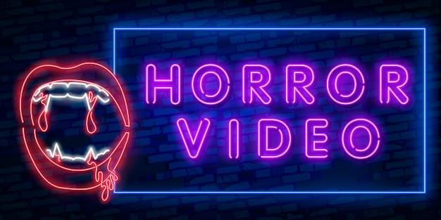 Película de terror letrero de neón, letrero luminoso, estandarte ligero.