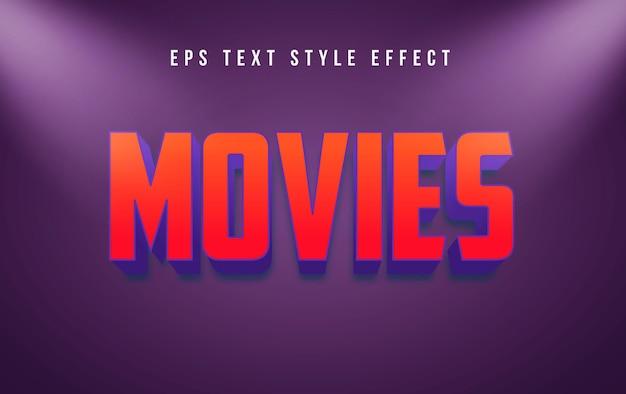 Películas efecto de estilo de texto editable 3d en rojo con foco