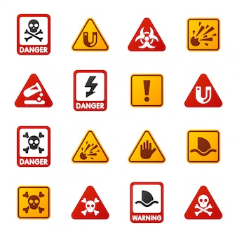 Peligro, advertencia, atención, signos, iconos