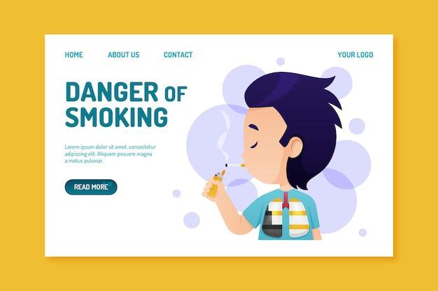 Peligro de fumar - página de destino